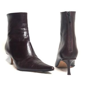 Jimmy Choo Brown Amore Leather Pointed Toe Booties